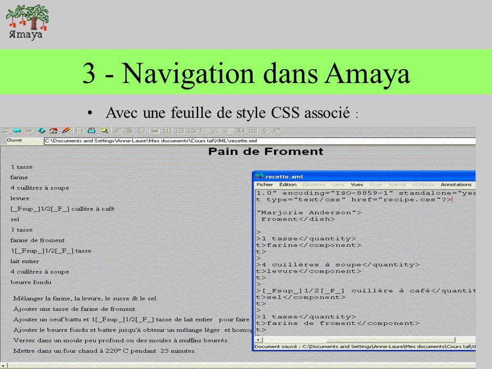 2 - Navigation dans Amaya En ouvrant un fichier xml et parallèlement la vue source, un curseur saffiche sur le browser, et le document source.