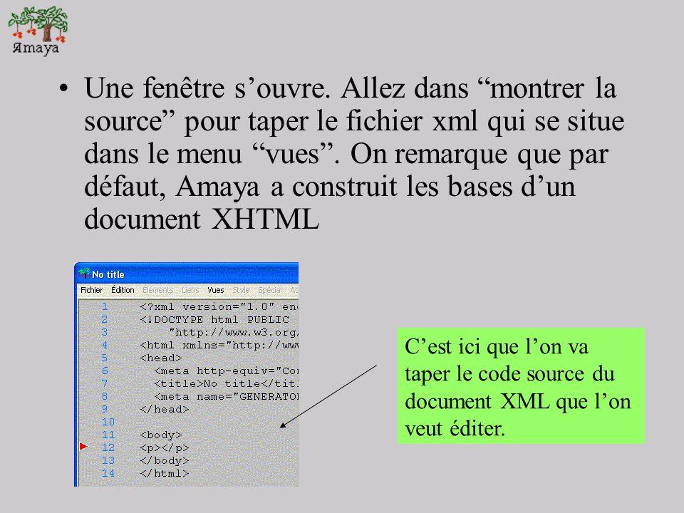 Editer un document XML LEdition en format XML, bien que possible nest pas la spécialité dAmaya. Par défaut dailleurs, Amaya proposera lédition de fich