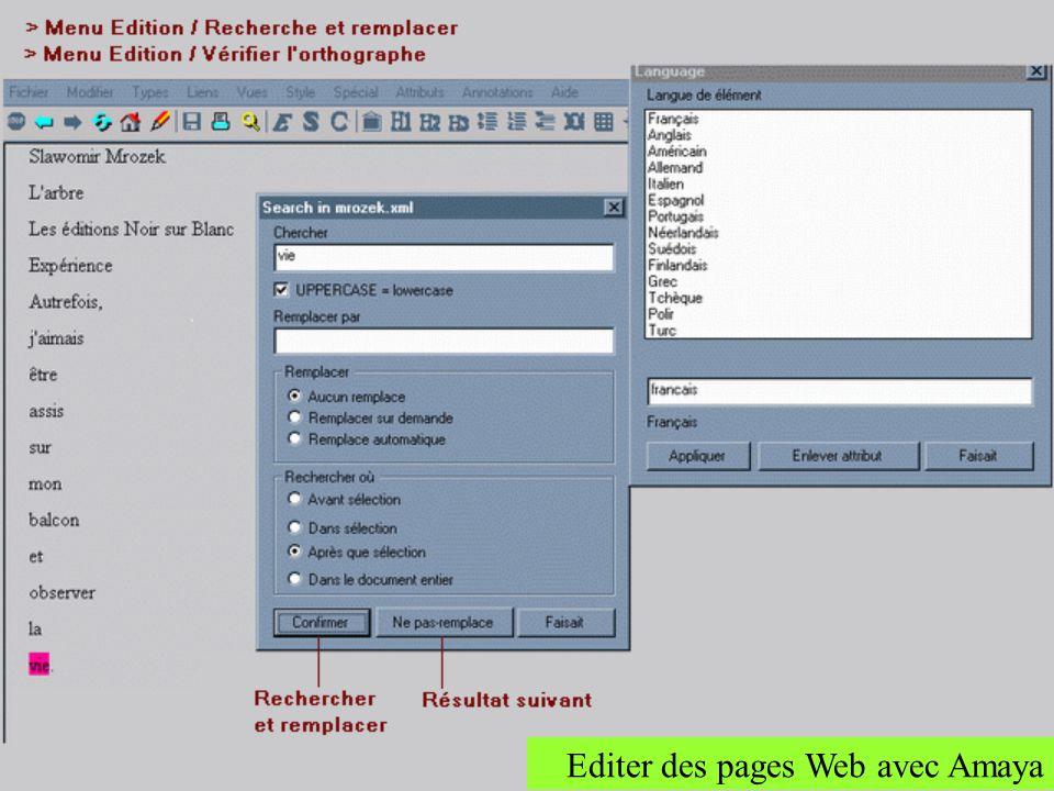 Rechercher/Remplacer Dans Amaya on a la possibilité de chercher des occurrence dans un document et de les remplacer par dautres occurrences si besoin.