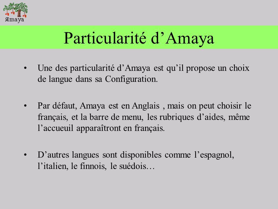 Configurer Amaya 5.2 Utilisation de différents fichiers pour initialiser les paramètres globaux : dialogue raccourcis taille et position de la fenêtre Feuille de style de lutilisateur … Le changement des paramètres sont disponible depuis le menu Spécial / Références