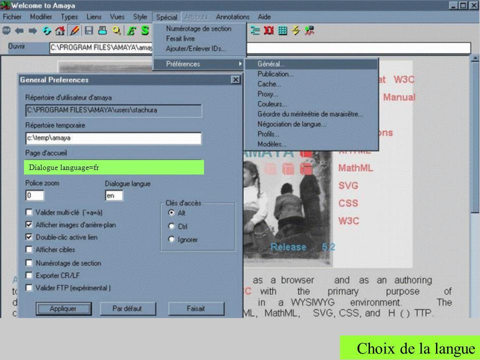 Une des particularité dAmaya est quil propose un choix de langue dans sa Configuration.