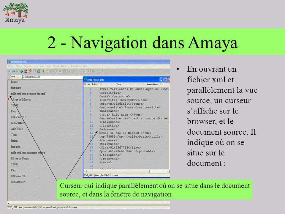 1 - Navigation dans Amaya On remarque quAmaya remplit tout dabord les fonctions dun navigateur. Pour ouvrir un fichier sous amaya, il faut aller dans