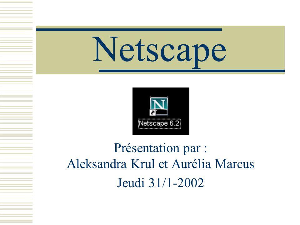 Netscape Présentation par : Aleksandra Krul et Aurélia Marcus Jeudi 31/1-2002