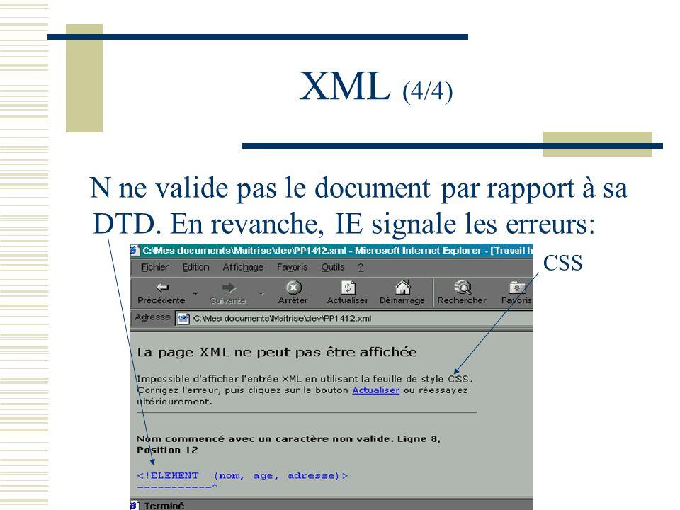 XML (4/4) N ne valide pas le document par rapport à sa DTD.