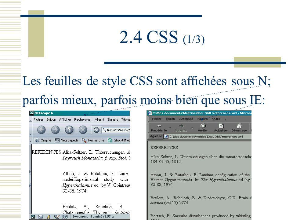 2.4 CSS (1/3) Les feuilles de style CSS sont affichées sous N; parfois mieux, parfois moins bien que sous IE: