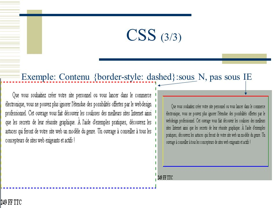 CSS (3/3) Exemple: Contenu {border-style: dashed}:sous N, pas sous IE