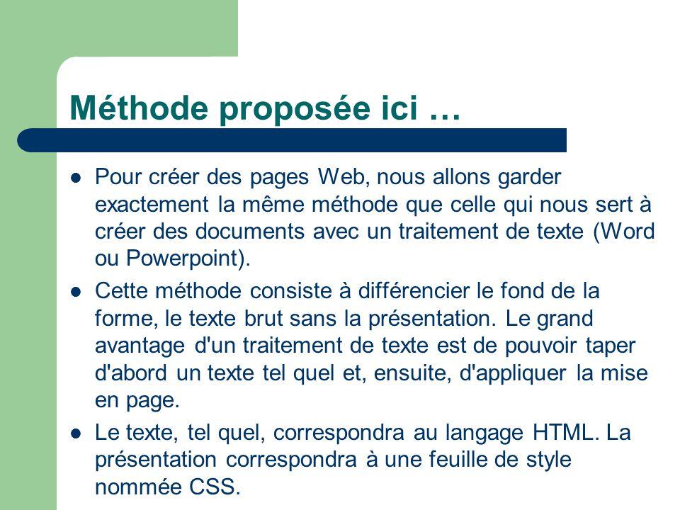 Méthode proposée ici … Pour créer des pages Web, nous allons garder exactement la même méthode que celle qui nous sert à créer des documents avec un t