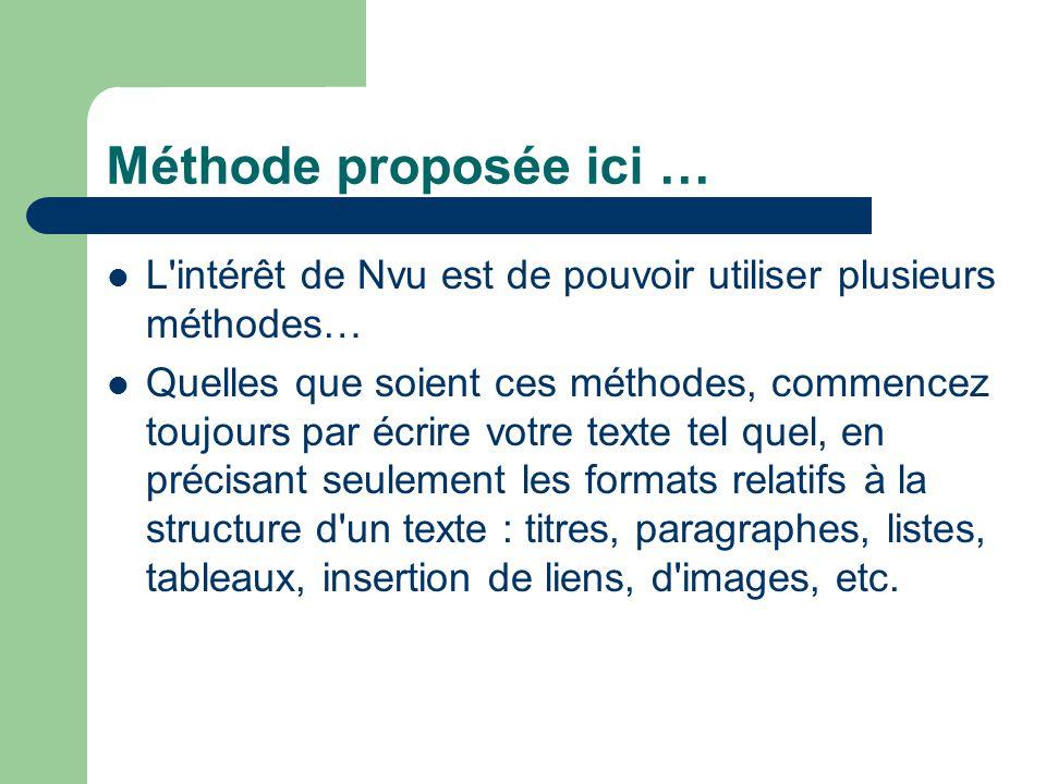 Méthode proposée ici … L'intérêt de Nvu est de pouvoir utiliser plusieurs méthodes… Quelles que soient ces méthodes, commencez toujours par écrire vot