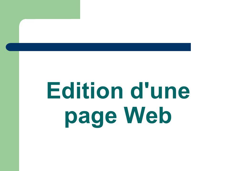 Edition d'une page Web