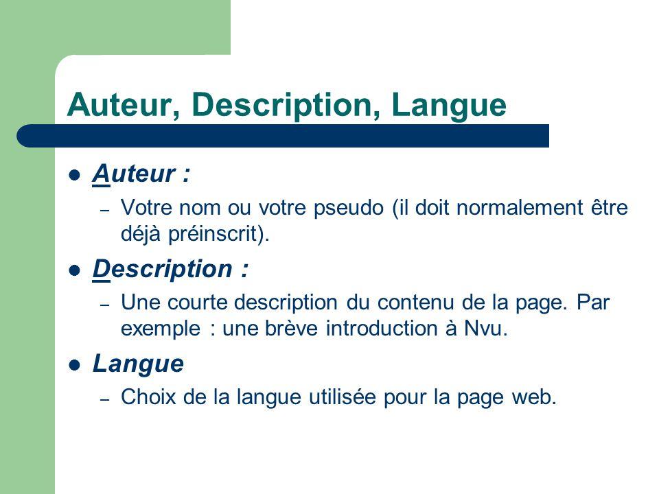 Auteur, Description, Langue Auteur : – Votre nom ou votre pseudo (il doit normalement être déjà préinscrit). Description : – Une courte description du