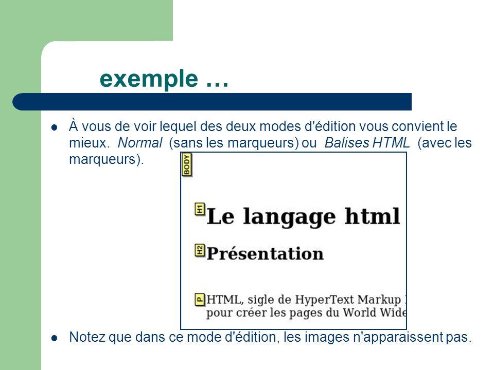 exemple … À vous de voir lequel des deux modes d'édition vous convient le mieux. Normal (sans les marqueurs) ou Balises HTML (avec les marqueurs). Not