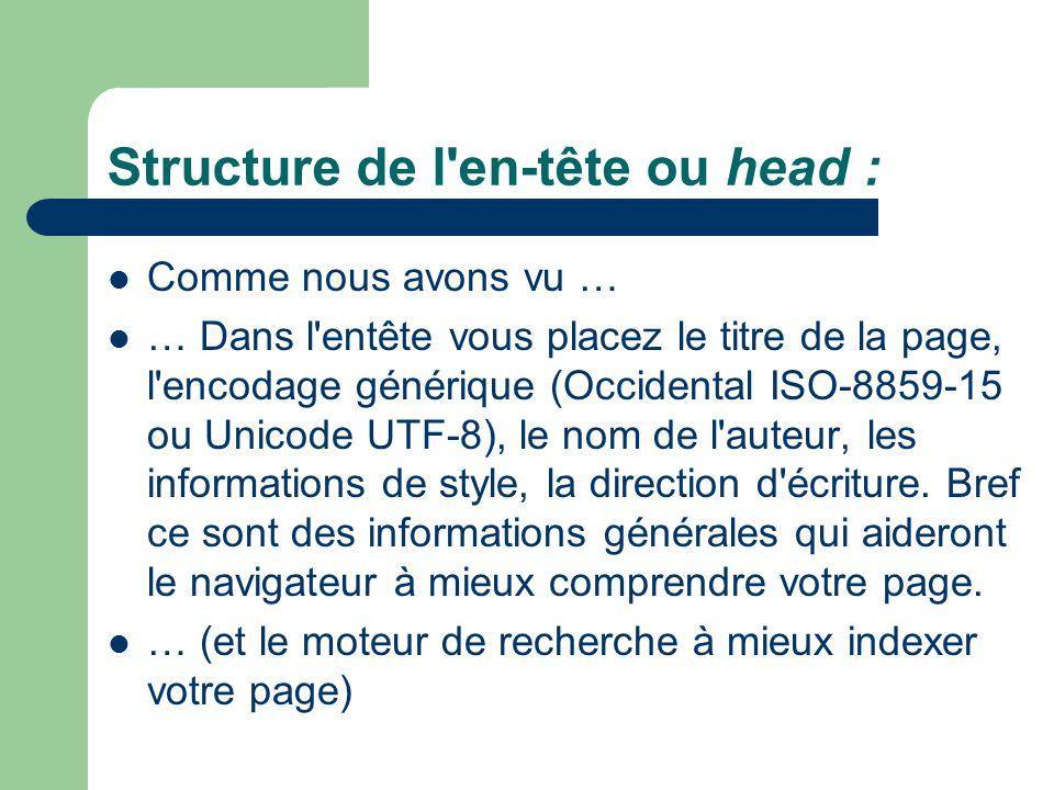 Structure de l'en-tête ou head : Comme nous avons vu … … Dans l'entête vous placez le titre de la page, l'encodage générique (Occidental ISO-8859-15 o
