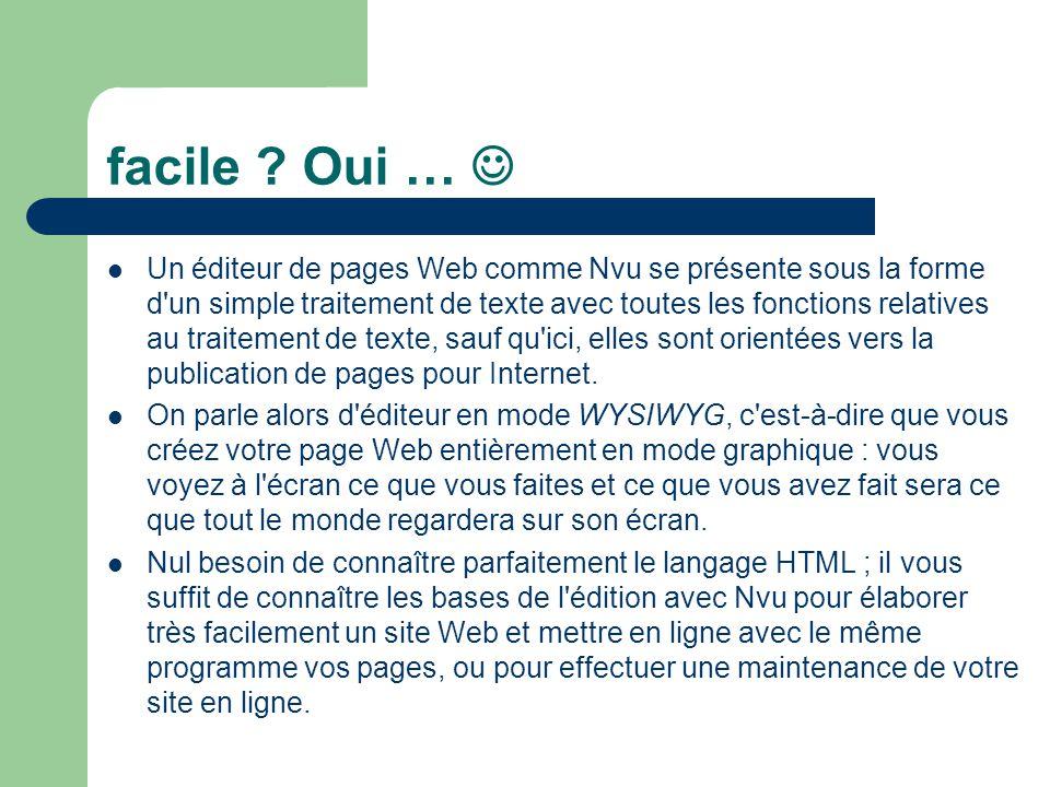 facile ? Oui … Un éditeur de pages Web comme Nvu se présente sous la forme d'un simple traitement de texte avec toutes les fonctions relatives au trai