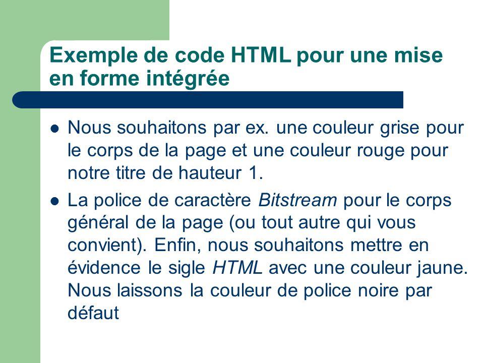 Exemple de code HTML pour une mise en forme intégrée Nous souhaitons par ex. une couleur grise pour le corps de la page et une couleur rouge pour notr