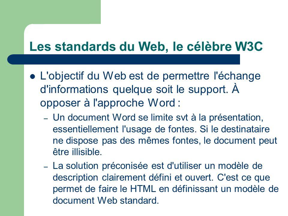 Les standards du Web, le célèbre W3C L'objectif du Web est de permettre l'échange d'informations quelque soit le support. À opposer à l'approche Word