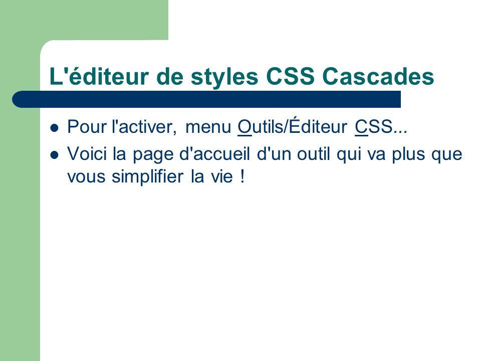L'éditeur de styles CSS Cascades Pour l'activer, menu Outils/Éditeur CSS... Voici la page d'accueil d'un outil qui va plus que vous simplifier la vie