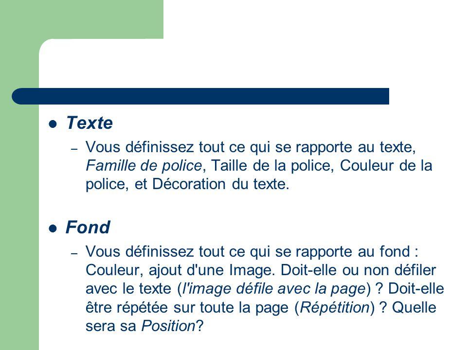 Texte – Vous définissez tout ce qui se rapporte au texte, Famille de police, Taille de la police, Couleur de la police, et Décoration du texte. Fond –
