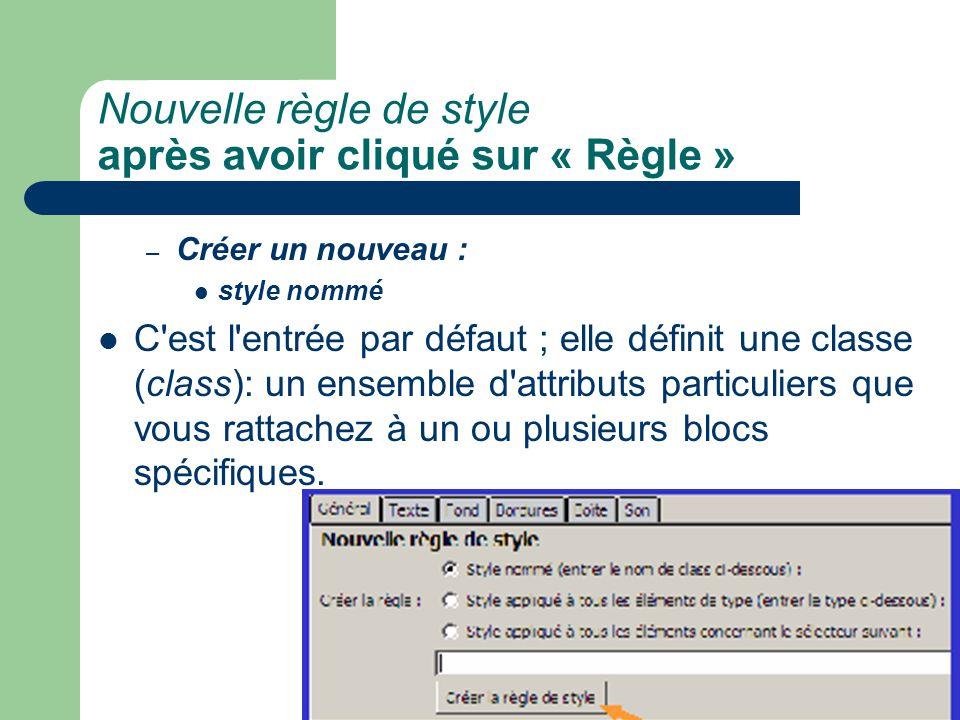 Nouvelle règle de style après avoir cliqué sur « Règle » – Créer un nouveau : style nommé C'est l'entrée par défaut ; elle définit une classe (class):