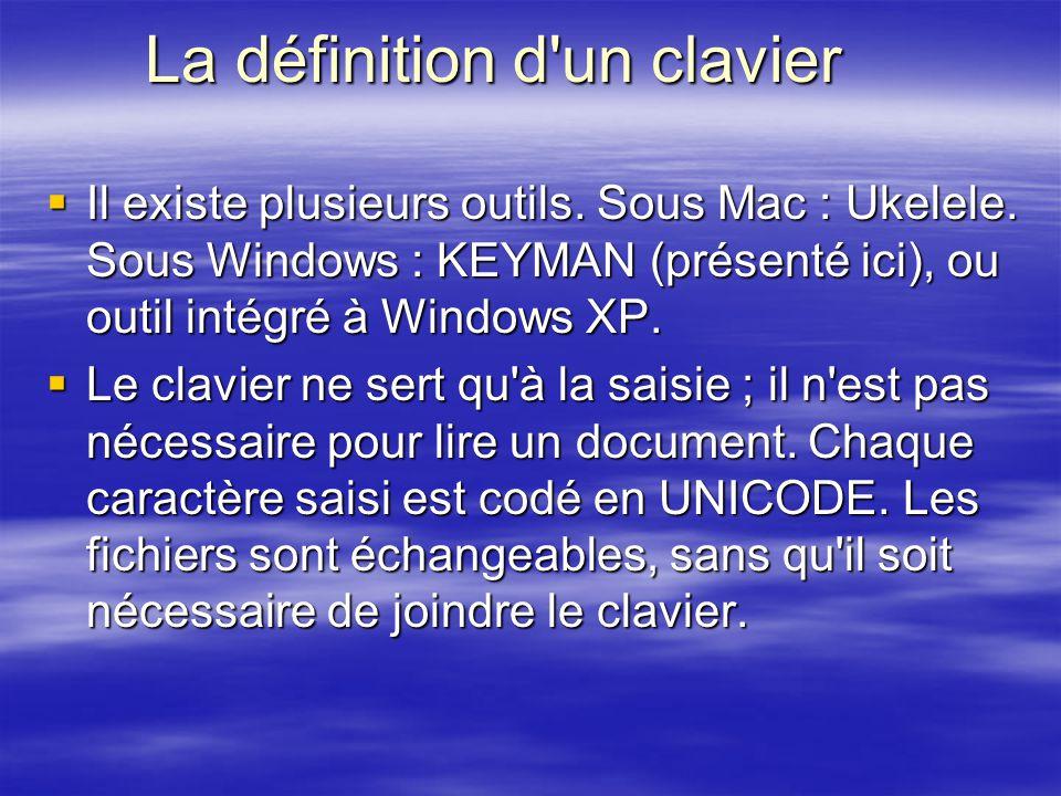 La définition d'un clavier Il existe plusieurs outils. Sous Mac : Ukelele. Sous Windows : KEYMAN (présenté ici), ou outil intégré à Windows XP. Il exi
