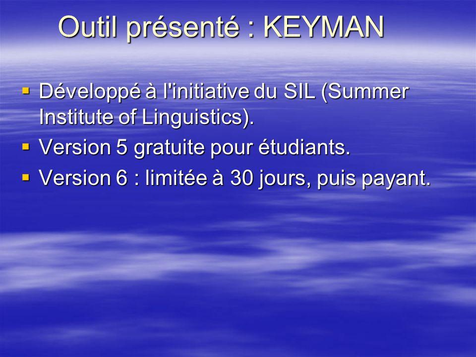 Outil présenté : KEYMAN Développé à l'initiative du SIL (Summer Institute of Linguistics). Développé à l'initiative du SIL (Summer Institute of Lingui
