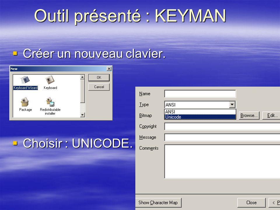Outil présenté : KEYMAN Créer un nouveau clavier. Créer un nouveau clavier. Choisir : UNICODE. Choisir : UNICODE.