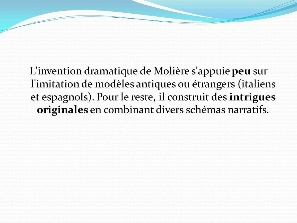 L'invention dramatique de Molière s'appuie peu sur l'imitation de modèles antiques ou étrangers (italiens et espagnols). Pour le reste, il construit d