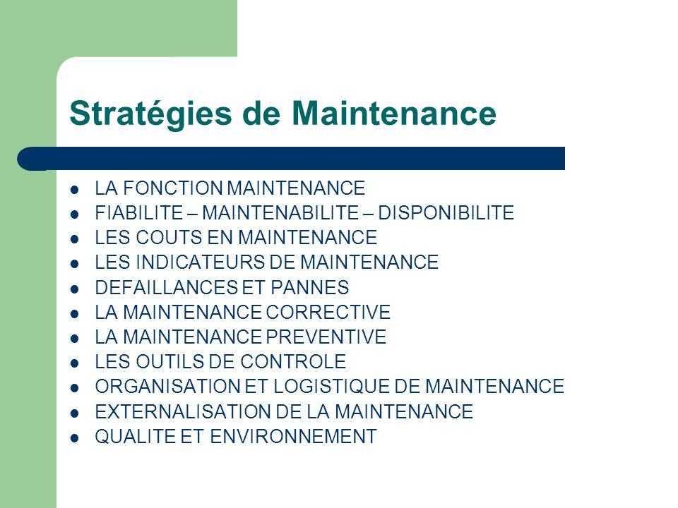 Stratégies de Maintenance LA FONCTION MAINTENANCE FIABILITE – MAINTENABILITE – DISPONIBILITE LES COUTS EN MAINTENANCE LES INDICATEURS DE MAINTENANCE DEFAILLANCES ET PANNES LA MAINTENANCE CORRECTIVE LA MAINTENANCE PREVENTIVE LES OUTILS DE CONTROLE ORGANISATION ET LOGISTIQUE DE MAINTENANCE EXTERNALISATION DE LA MAINTENANCE QUALITE ET ENVIRONNEMENT