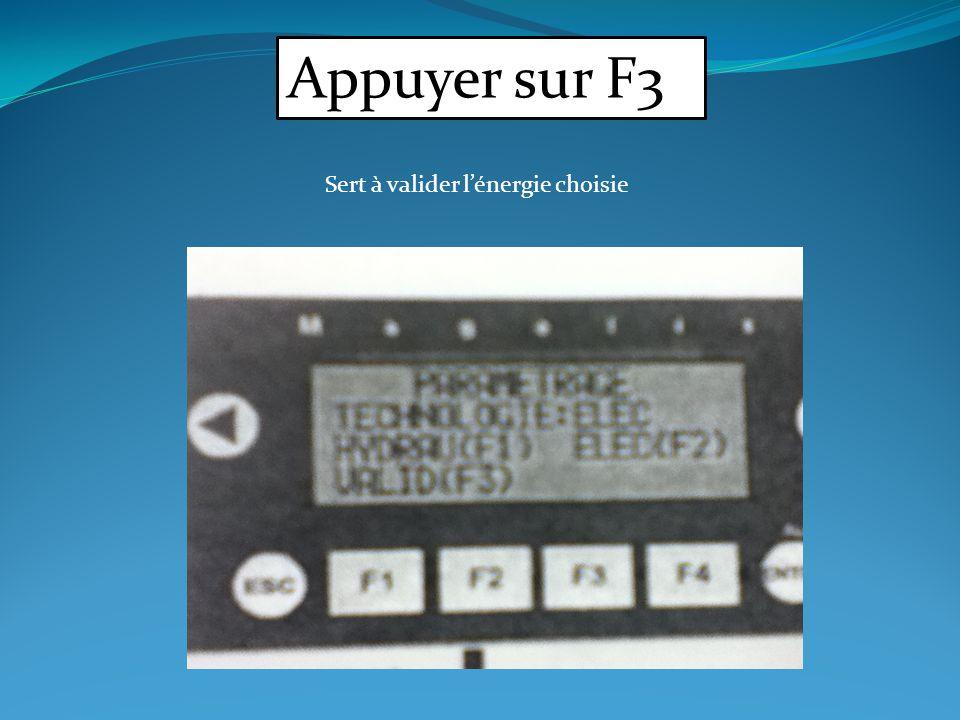 Appuyer sur F3 Sert à valider lénergie choisie