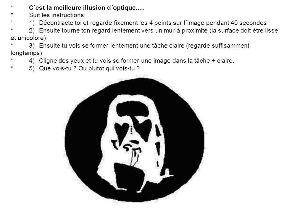 * C´est la meilleure illusion d´optique..... * Suit les instructions: * 1) Décontracte toi et regarde fixement les 4 points sur l´image pendant 40 sec
