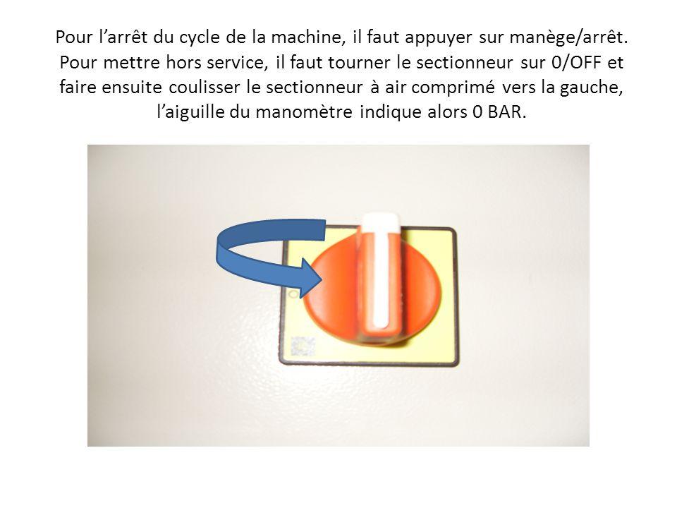 Pour larrêt du cycle de la machine, il faut appuyer sur manège/arrêt.