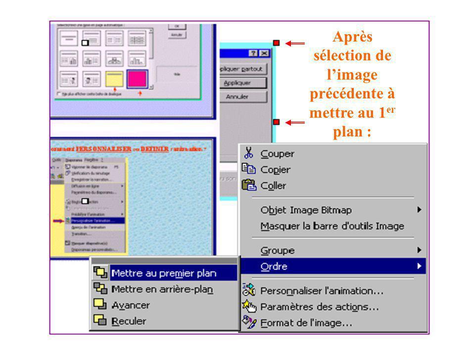Exemple de problème à résoudre : image en arrière-plan N° de diapo Durée de la transition Clic bouton droit dans la diapo