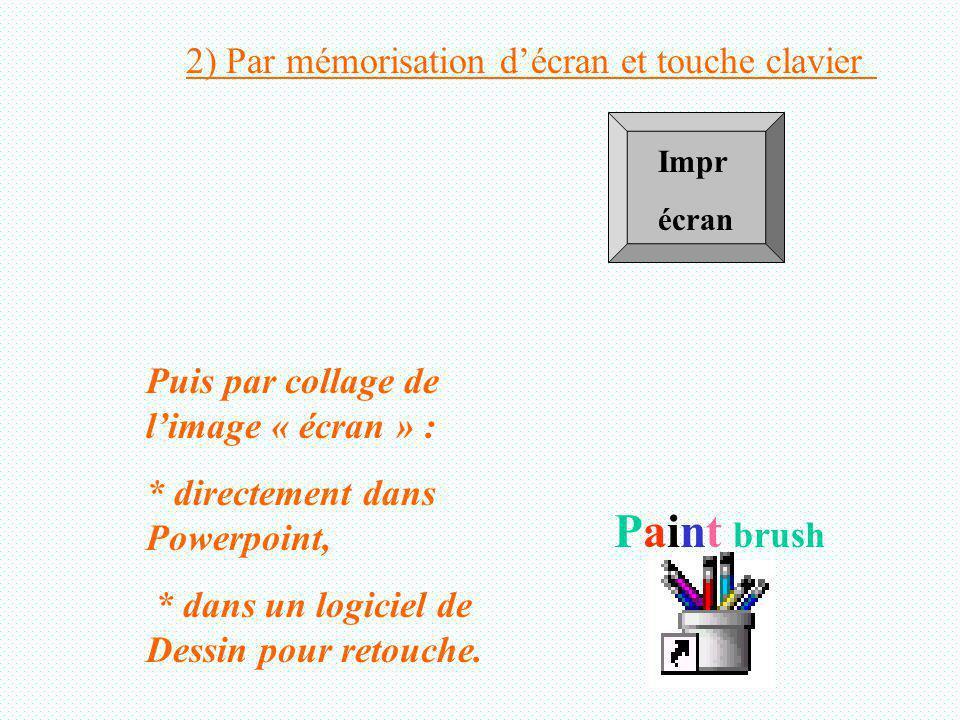 Impr écran Puis par collage de limage « écran » : * directement dans Powerpoint, * dans un logiciel de Dessin pour retouche.