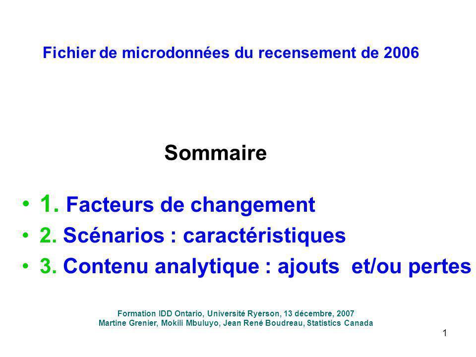 1 Fichier de microdonnées du recensement de 2006 1. Facteurs de changement 2. Scénarios : caractéristiques 3. Contenu analytique : ajouts et/ou pertes