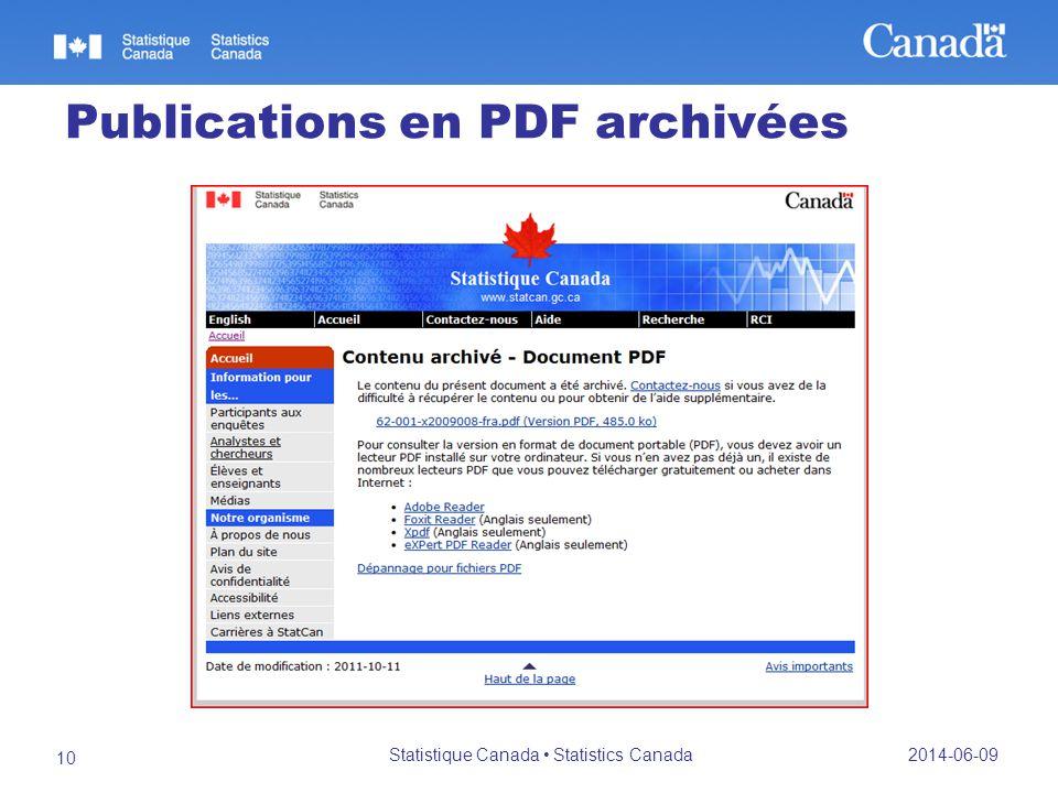 Publications en PDF archivées 2014-06-09 Statistique Canada Statistics Canada 10