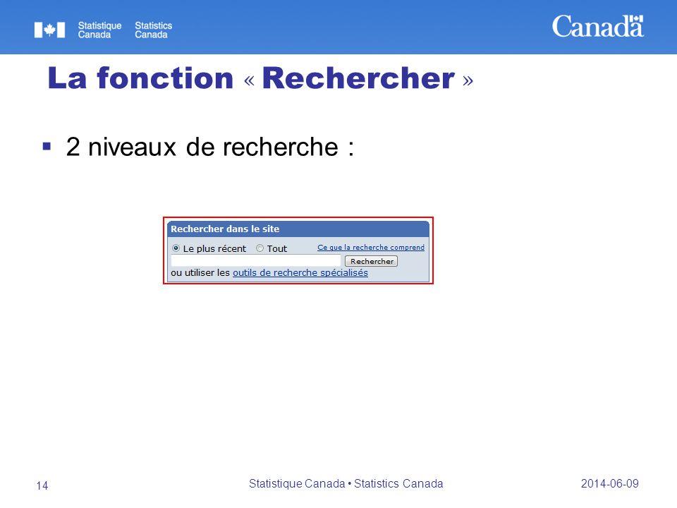 La fonction « Rechercher » 2 niveaux de recherche : 2014-06-09 Statistique Canada Statistics Canada 14