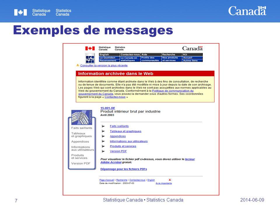 Exemples de messages 2014-06-09 Statistique Canada Statistics Canada 7