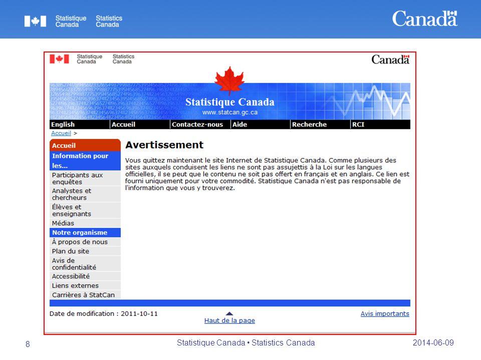 2014-06-09 Statistique Canada Statistics Canada 8