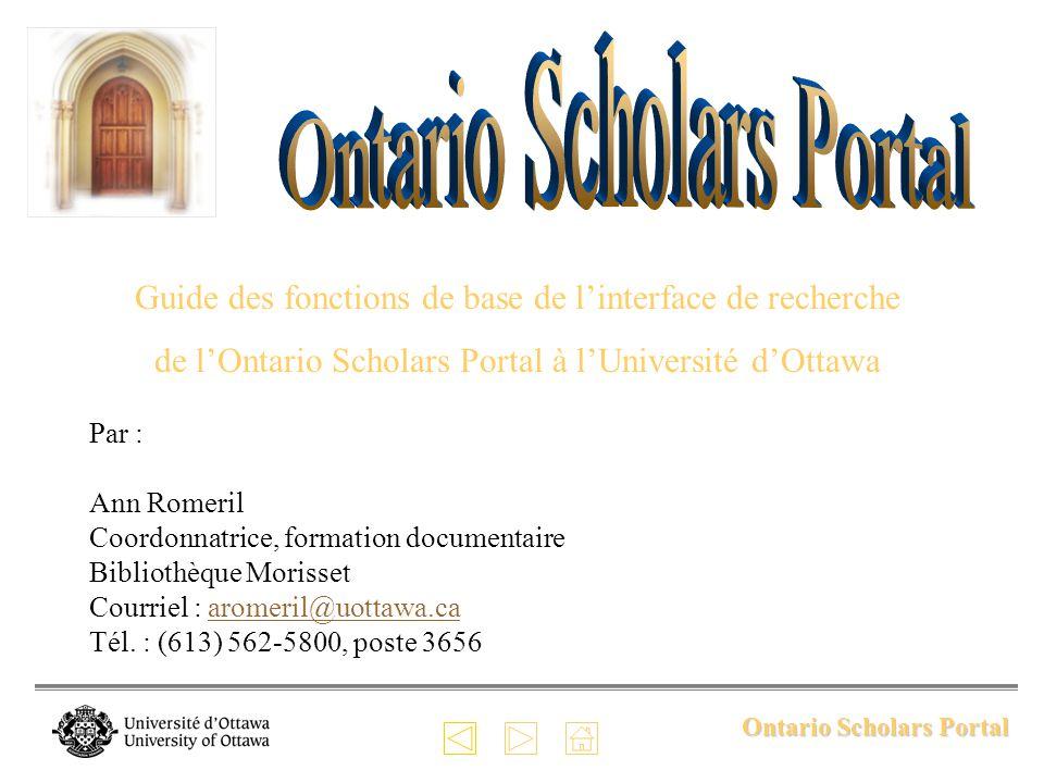 Ontario Scholars Portal Paramètres personnels Vous pouvez accéder à vos paramètres personnels et les modifier en cliquant sur « Settings » dans la barre des menus.