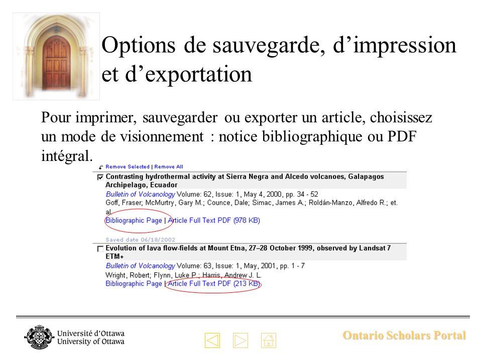 Ontario Scholars Portal Options de sauvegarde, dimpression et dexportation Pour imprimer, sauvegarder ou exporter un article, choisissez un mode de visionnement : notice bibliographique ou PDF intégral.