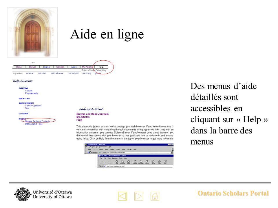 Ontario Scholars Portal Aide en ligne Des menus daide détaillés sont accessibles en cliquant sur « Help » dans la barre des menus