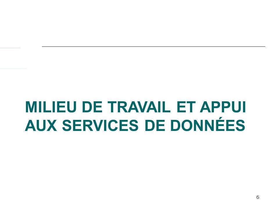 6 MILIEU DE TRAVAIL ET APPUI AUX SERVICES DE DONNÉES