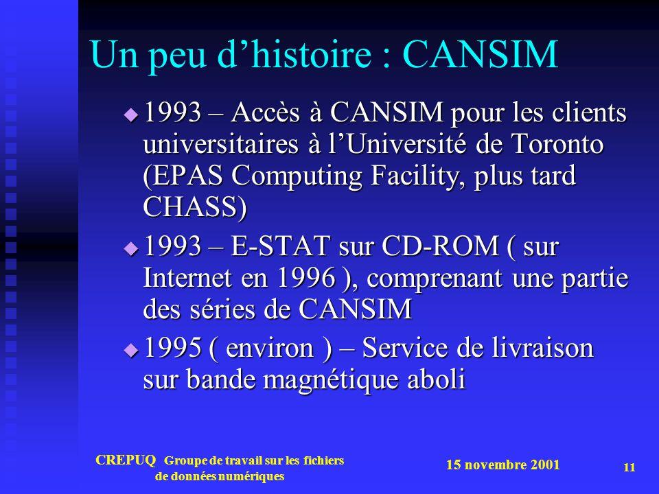 15 novembre 2001 CREPUQ Groupe de travail sur les fichiers de données numériques 11 Un peu dhistoire : CANSIM 1993 – Accès à CANSIM pour les clients universitaires à lUniversité de Toronto (EPAS Computing Facility, plus tard CHASS) 1993 – Accès à CANSIM pour les clients universitaires à lUniversité de Toronto (EPAS Computing Facility, plus tard CHASS) 1993 – E-STAT sur CD-ROM ( sur Internet en 1996 ), comprenant une partie des séries de CANSIM 1993 – E-STAT sur CD-ROM ( sur Internet en 1996 ), comprenant une partie des séries de CANSIM 1995 ( environ ) – Service de livraison sur bande magnétique aboli 1995 ( environ ) – Service de livraison sur bande magnétique aboli