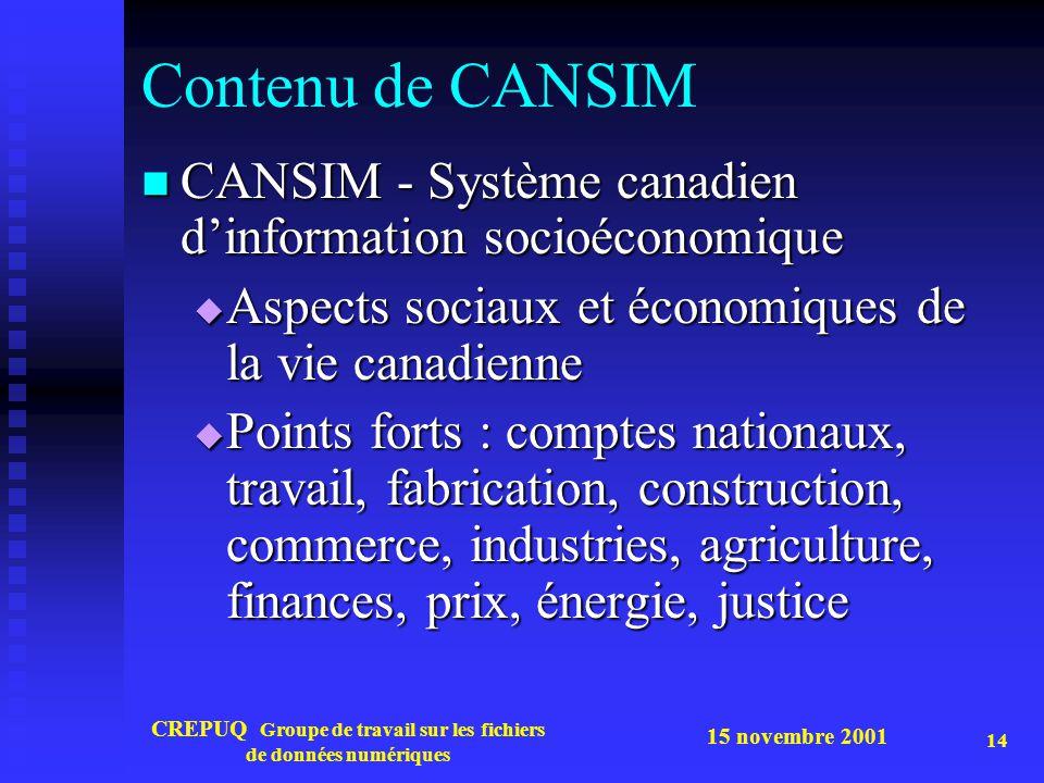 15 novembre 2001 CREPUQ Groupe de travail sur les fichiers de données numériques 14 Contenu de CANSIM CANSIM - Système canadien dinformation socioécon