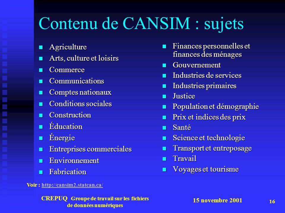 15 novembre 2001 CREPUQ Groupe de travail sur les fichiers de données numériques 16 Contenu de CANSIM : sujets Agriculture Agriculture Arts, culture e