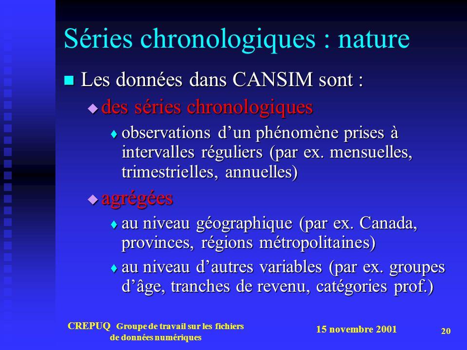 15 novembre 2001 CREPUQ Groupe de travail sur les fichiers de données numériques 20 Séries chronologiques : nature Les données dans CANSIM sont : Les données dans CANSIM sont : des séries chronologiques des séries chronologiques observations dun phénomène prises à intervalles réguliers (par ex.