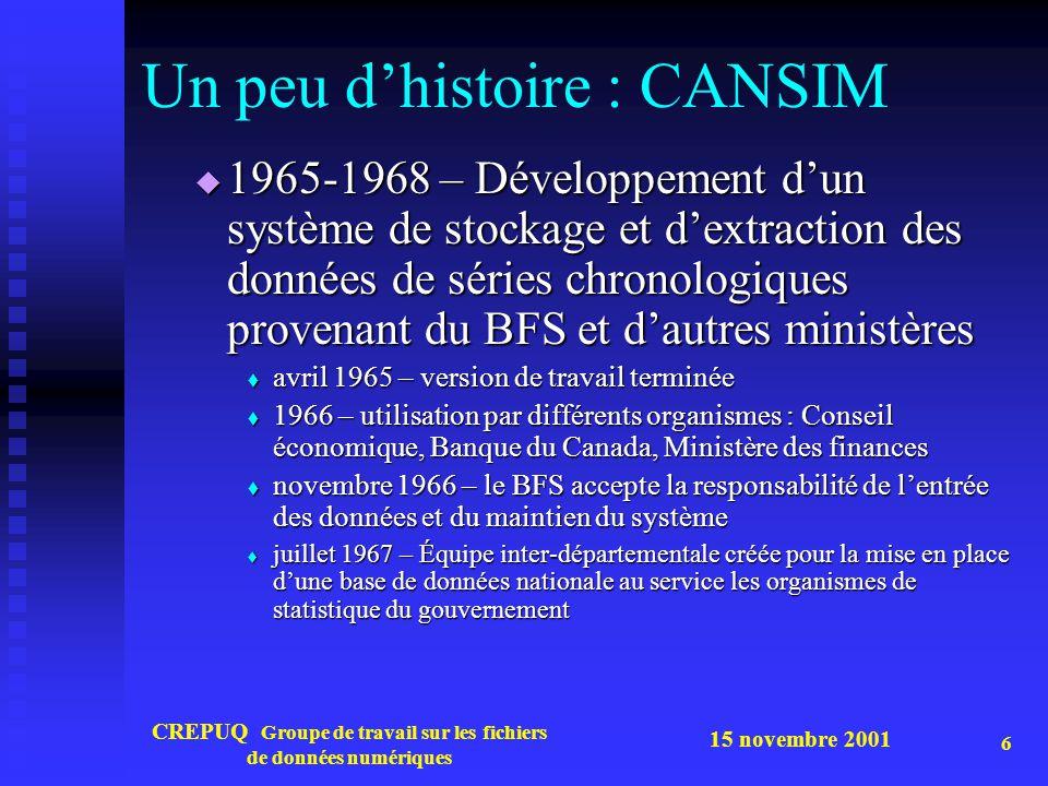 15 novembre 2001 CREPUQ Groupe de travail sur les fichiers de données numériques 6 Un peu dhistoire : CANSIM 1965-1968 – Développement dun système de