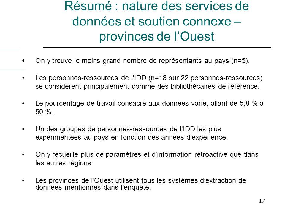 17 Résumé : nature des services de données et soutien connexe – provinces de lOuest On y trouve le moins grand nombre de représentants au pays (n=5).