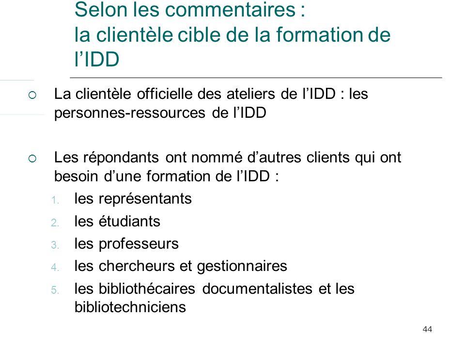 44 Selon les commentaires : la clientèle cible de la formation de lIDD La clientèle officielle des ateliers de lIDD : les personnes-ressources de lIDD Les répondants ont nommé dautres clients qui ont besoin dune formation de lIDD : 1.