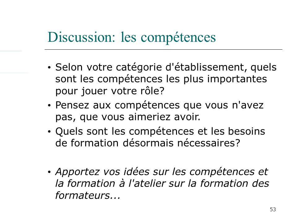 53 Discussion: les compétences Selon votre catégorie d établissement, quels sont les compétences les plus importantes pour jouer votre rôle.