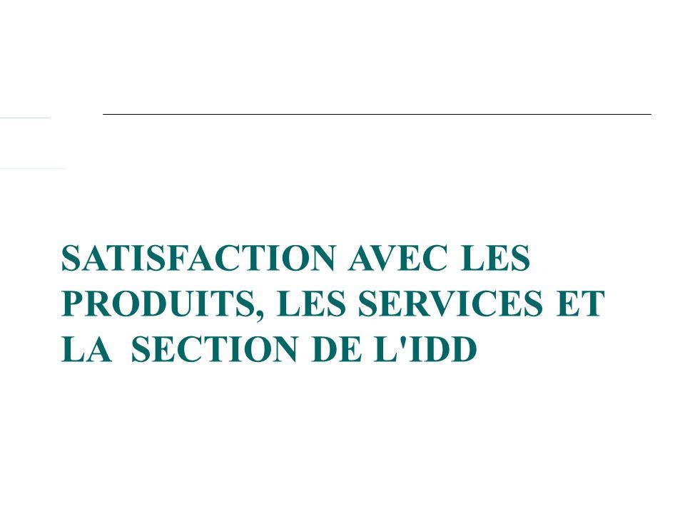 SATISFACTION AVEC LES PRODUITS, LES SERVICES ET LA SECTION DE L'IDD